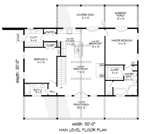 Country Floor Plan - Main Floor Plan #932-310