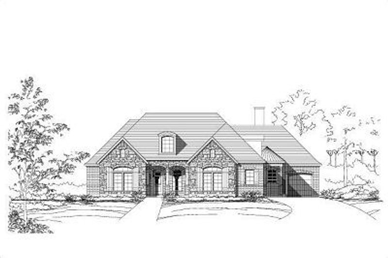 European Style House Plan - 3 Beds 3 Baths 2857 Sq/Ft Plan #411-476 Exterior - Front Elevation
