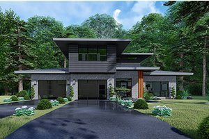 Contemporary Exterior - Front Elevation Plan #17-3426