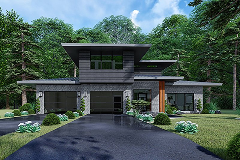 Contemporary Style House Plan - 3 Beds 2 Baths 2092 Sq/Ft Plan #17-3426 Exterior - Front Elevation