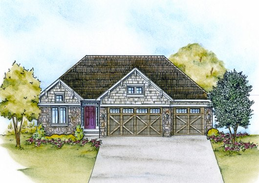 Craftsman Exterior - Front Elevation Plan #20-2115
