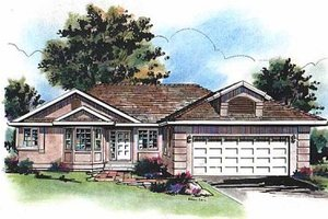 Ranch Exterior - Front Elevation Plan #18-122