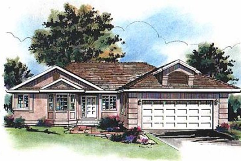 Ranch Style House Plan - 3 Beds 2 Baths 1372 Sq/Ft Plan #18-122 Exterior - Front Elevation