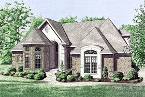 European Exterior - Front Elevation Plan #34-113