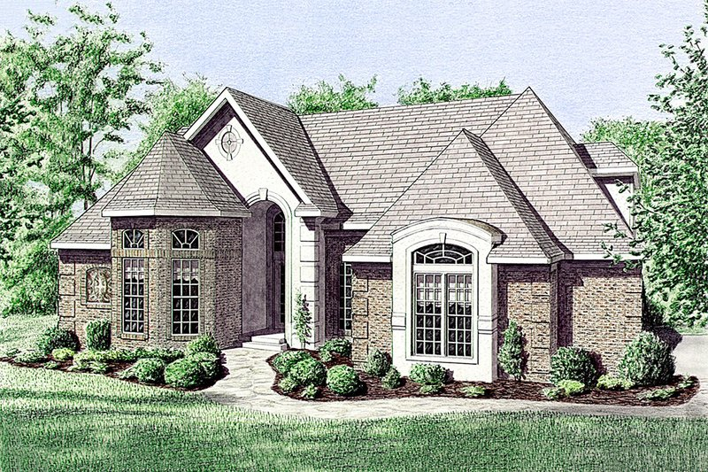 European Style House Plan - 3 Beds 2 Baths 2295 Sq/Ft Plan #34-113 Exterior - Front Elevation