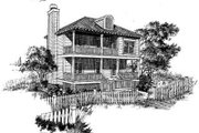 Beach Style House Plan - 3 Beds 3 Baths 1444 Sq/Ft Plan #322-124 Exterior - Front Elevation