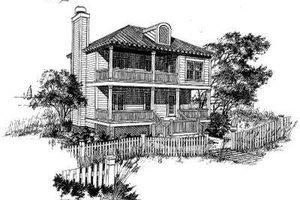 Beach Exterior - Front Elevation Plan #322-124