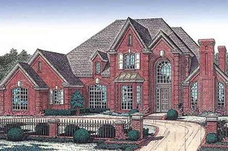 European Style House Plan - 4 Beds 3.5 Baths 3936 Sq/Ft Plan #310-601 Exterior - Front Elevation