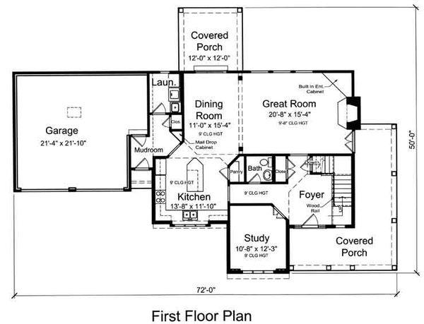 Traditional Floor Plan - Main Floor Plan Plan #46-491