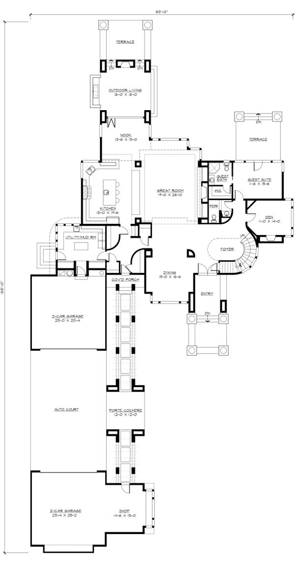 Modern prairie style house plan by Washington State designer with big beautiful master suite
