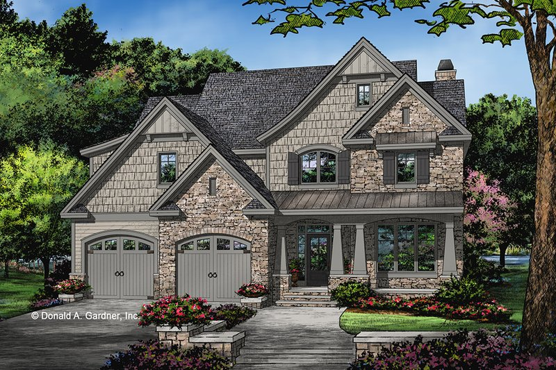 Craftsman Style House Plan - 5 Beds 4.5 Baths 3347 Sq/Ft Plan #929-1031 Exterior - Front Elevation