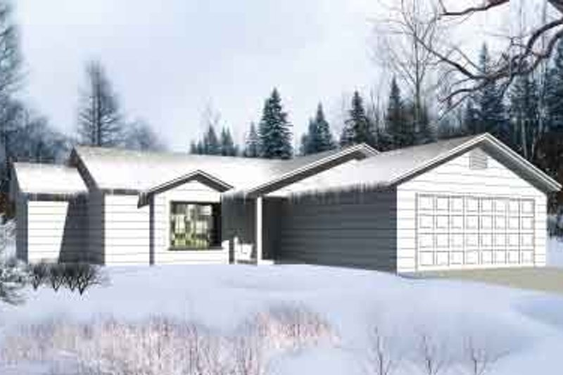 Ranch Style House Plan - 3 Beds 2 Baths 1193 Sq/Ft Plan #1-1154 Exterior - Front Elevation