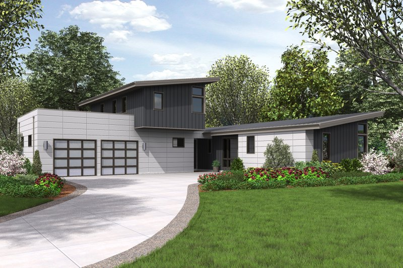 Contemporary Style House Plan - 3 Beds 3 Baths 2371 Sq/Ft Plan #48-693 Exterior - Front Elevation