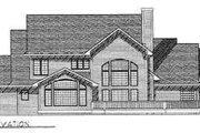 European Style House Plan - 4 Beds 3.5 Baths 3015 Sq/Ft Plan #70-473 Exterior - Rear Elevation