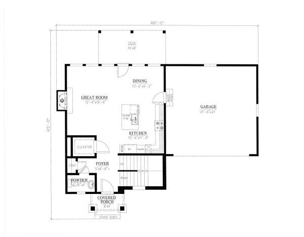 Craftsman Floor Plan - Main Floor Plan Plan #437-91