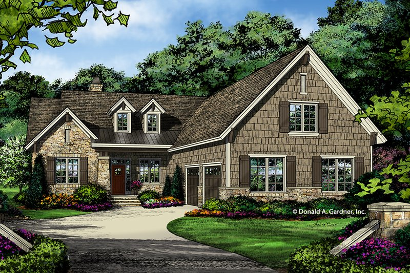European Style House Plan - 2 Beds 2.5 Baths 1986 Sq/Ft Plan #929-1029 Exterior - Front Elevation