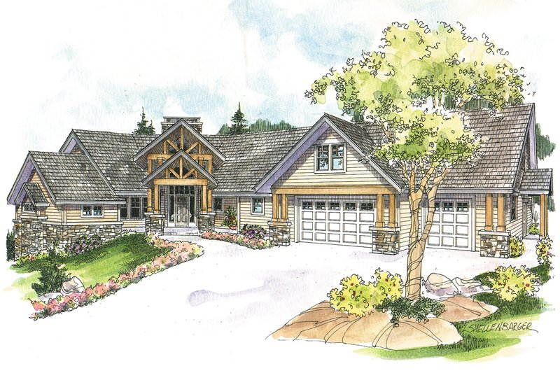 Craftsman Exterior - Front Elevation Plan #124-1148