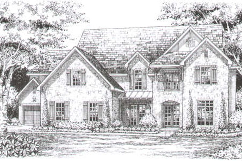European Style House Plan - 4 Beds 4.5 Baths 4469 Sq/Ft Plan #141-270 Exterior - Front Elevation