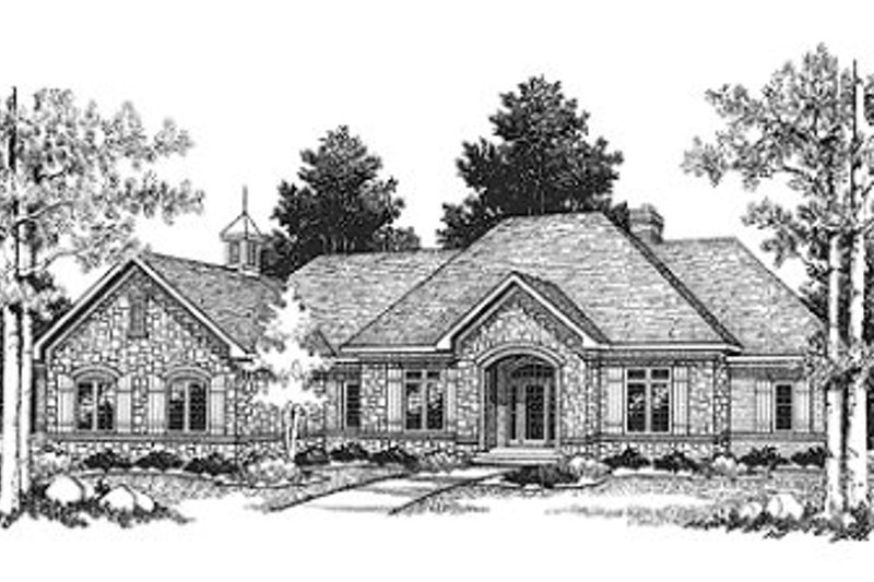 European Style House Plan - 2 Beds 2 Baths 2518 Sq/Ft Plan #70-406 Exterior - Front Elevation