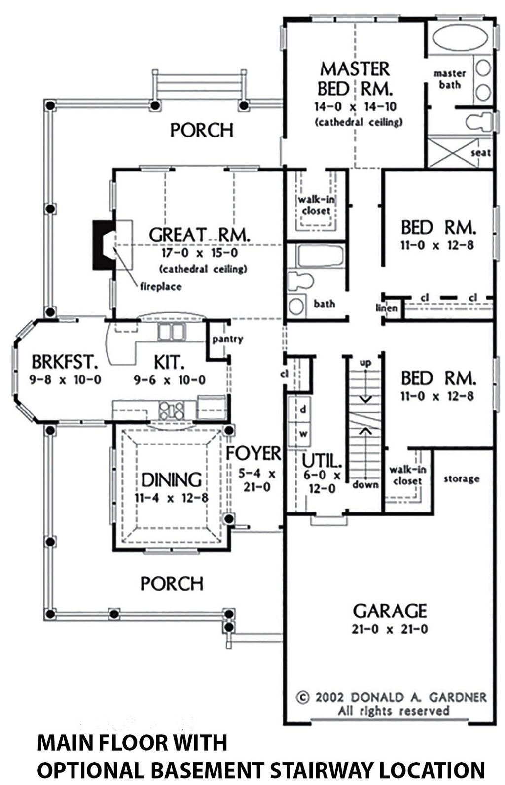 Country Style House Plan - 3 Beds 2 Baths 1700 Sq/Ft Plan #929-43 on 1300 1400 sq ft floor plans, 1200 sq ft. house floor plans, 1700 1900 square foot floor plans, 1900 square foot house plans,