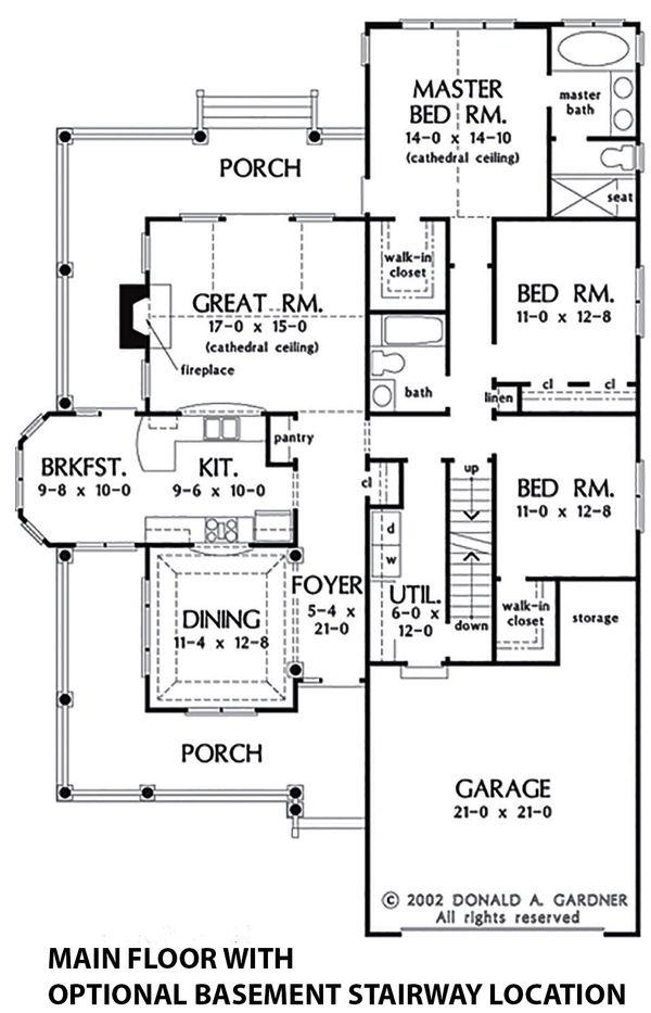 Dream House Plan - Optional Basement Stair Placement