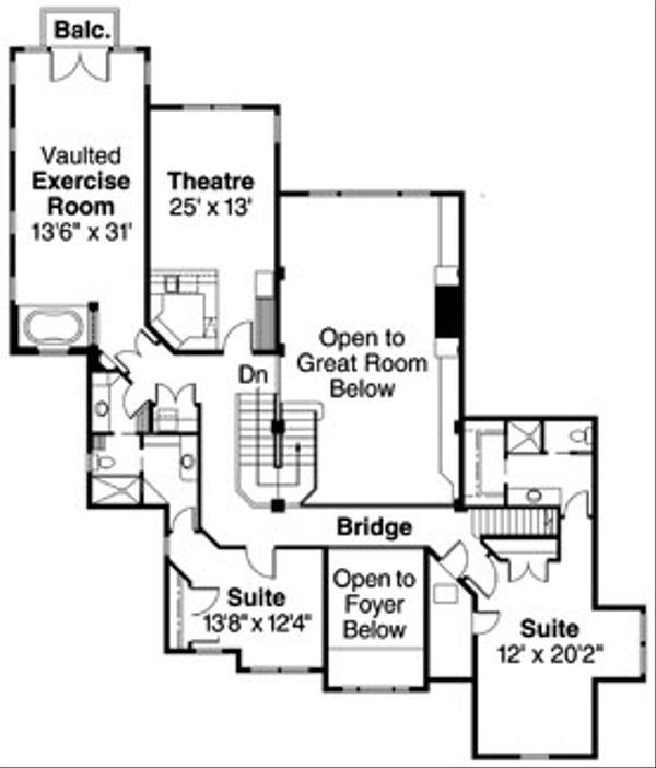 Craftsman Floor Plan - Upper Floor Plan Plan #124-723