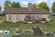 Ranch Style House Plan - 3 Beds 2 Baths 1597 Sq/Ft Plan #56-623 Exterior - Rear Elevation
