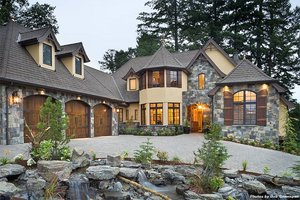 House Plan Design - Front View - 4000 square foot European home