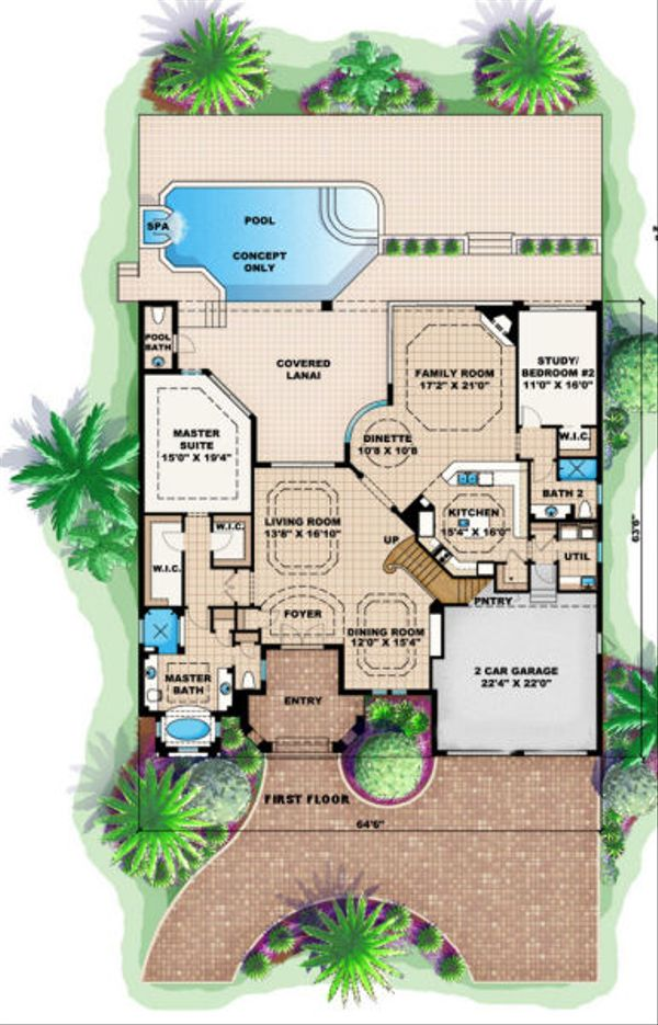 Mediterranean Floor Plan - Main Floor Plan Plan #27-378