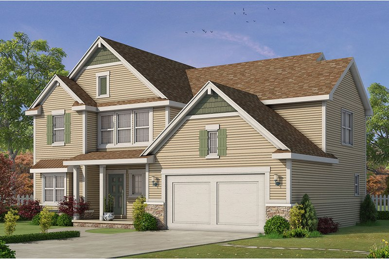 Traditional Style House Plan - 4 Beds 3.5 Baths 2527 Sq/Ft Plan #20-2279 Exterior - Front Elevation