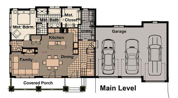 Craftsman Floor Plan - Main Floor Plan #908-3