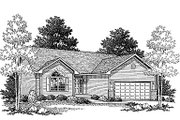 Traditional Style House Plan - 2 Beds 2 Baths 1306 Sq/Ft Plan #70-107 Exterior - Front Elevation