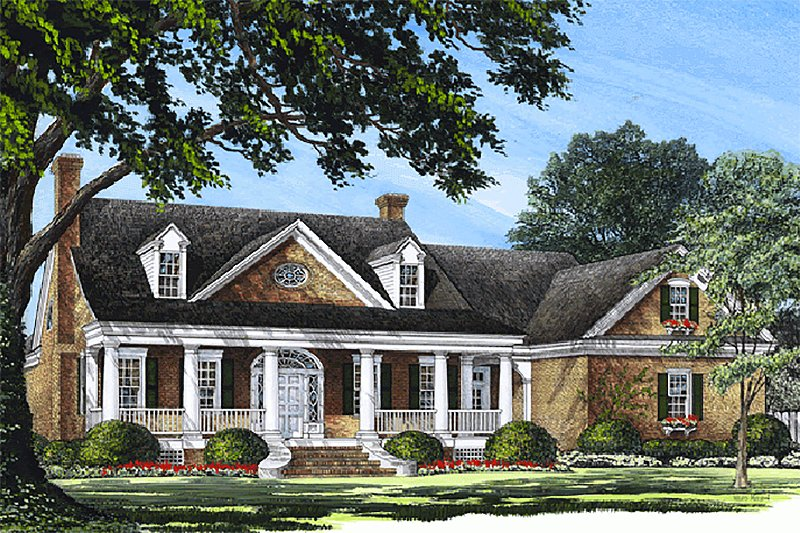 Southern Style House Plan - 4 Beds 3 Baths 3738 Sq/Ft Plan #137-185 Exterior - Front Elevation