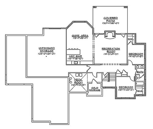 Bungalow Floor Plan - Lower Floor Plan Plan #5-281