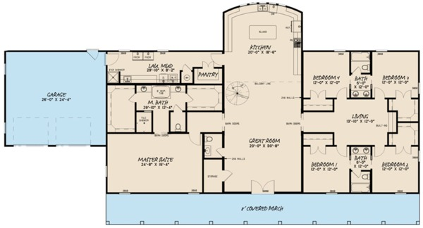 Architectural House Design - Farmhouse Floor Plan - Main Floor Plan #923-114