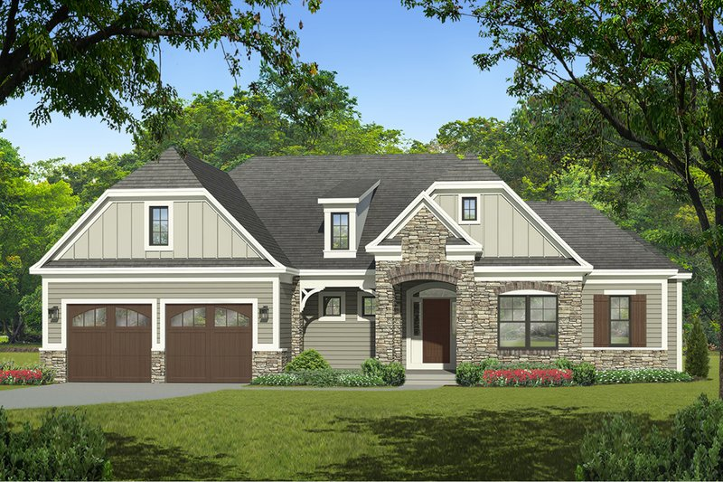 Ranch Exterior - Front Elevation Plan #1010-212