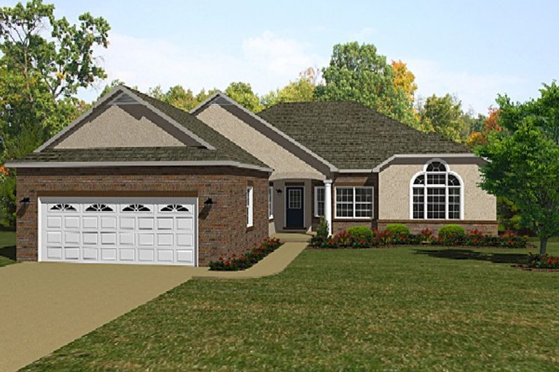 European Style House Plan - 3 Beds 2 Baths 2154 Sq/Ft Plan #14-253 Exterior - Front Elevation