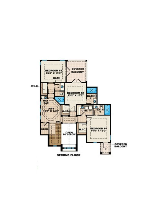 Mediterranean Floor Plan - Upper Floor Plan Plan #27-526