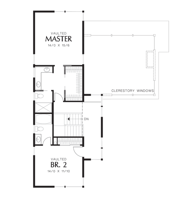 Modern Floor Plan - Upper Floor Plan Plan #48-525