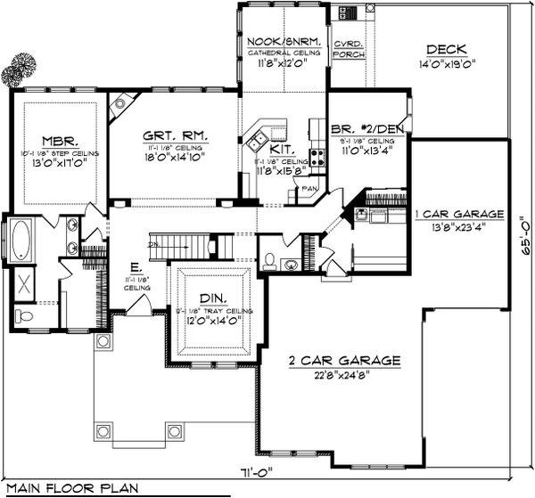 Ranch Floor Plan - Main Floor Plan Plan #70-1039