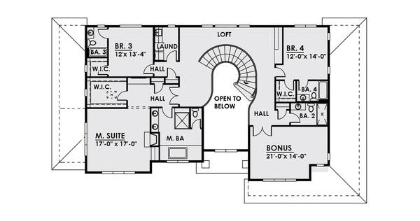 Contemporary Floor Plan - Upper Floor Plan Plan #1066-22