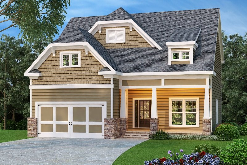Craftsman Style House Plan - 4 Beds 3 Baths 2533 Sq/Ft Plan #419-203 Exterior - Front Elevation