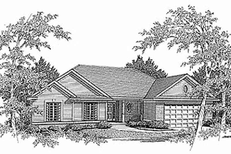 Traditional Style House Plan - 3 Beds 2 Baths 1849 Sq/Ft Plan #70-220 Exterior - Front Elevation