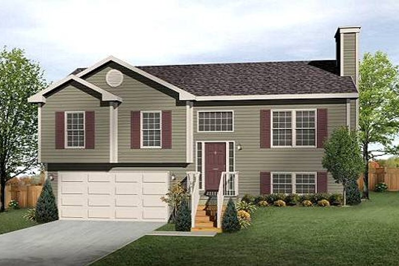 Traditional Style House Plan - 3 Beds 2 Baths 1207 Sq/Ft Plan #22-537 Exterior - Front Elevation