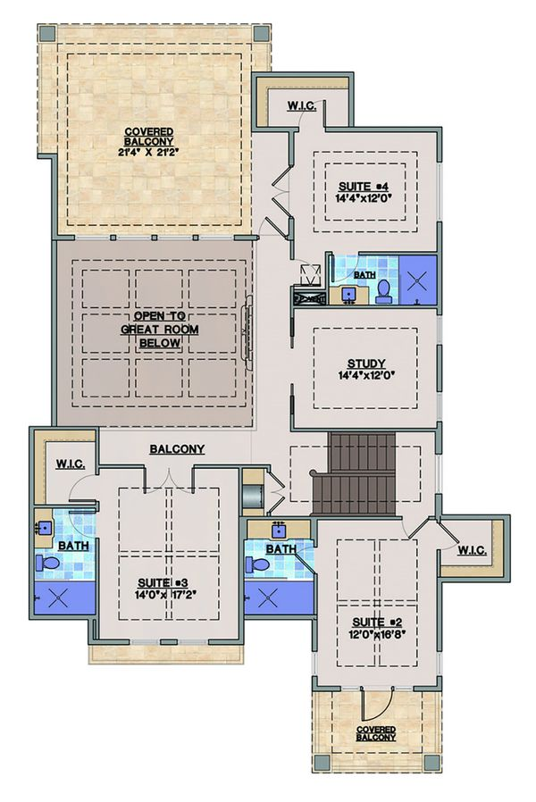 Beach Floor Plan - Upper Floor Plan #548-20