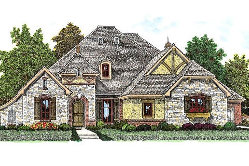 European Exterior - Front Elevation Plan #310-972