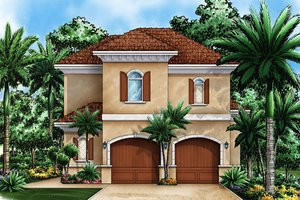 House Plan Design - Mediterranean Exterior - Front Elevation Plan #27-535