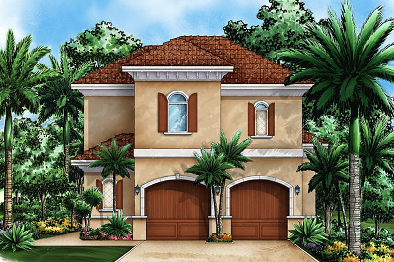 Mediterranean Style House Plan - 1 Beds 1 Baths 1729 Sq/Ft Plan #27-535 Exterior - Front Elevation