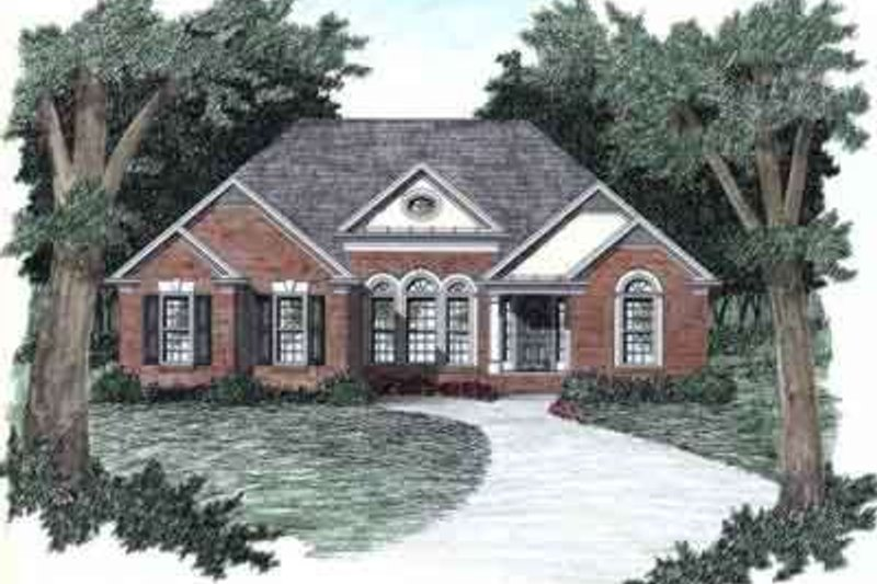 European Style House Plan - 3 Beds 2 Baths 1450 Sq/Ft Plan #129-138 Exterior - Front Elevation