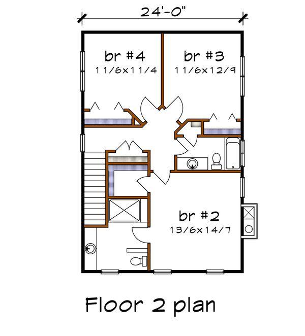 Craftsman Floor Plan - Lower Floor Plan #79-274